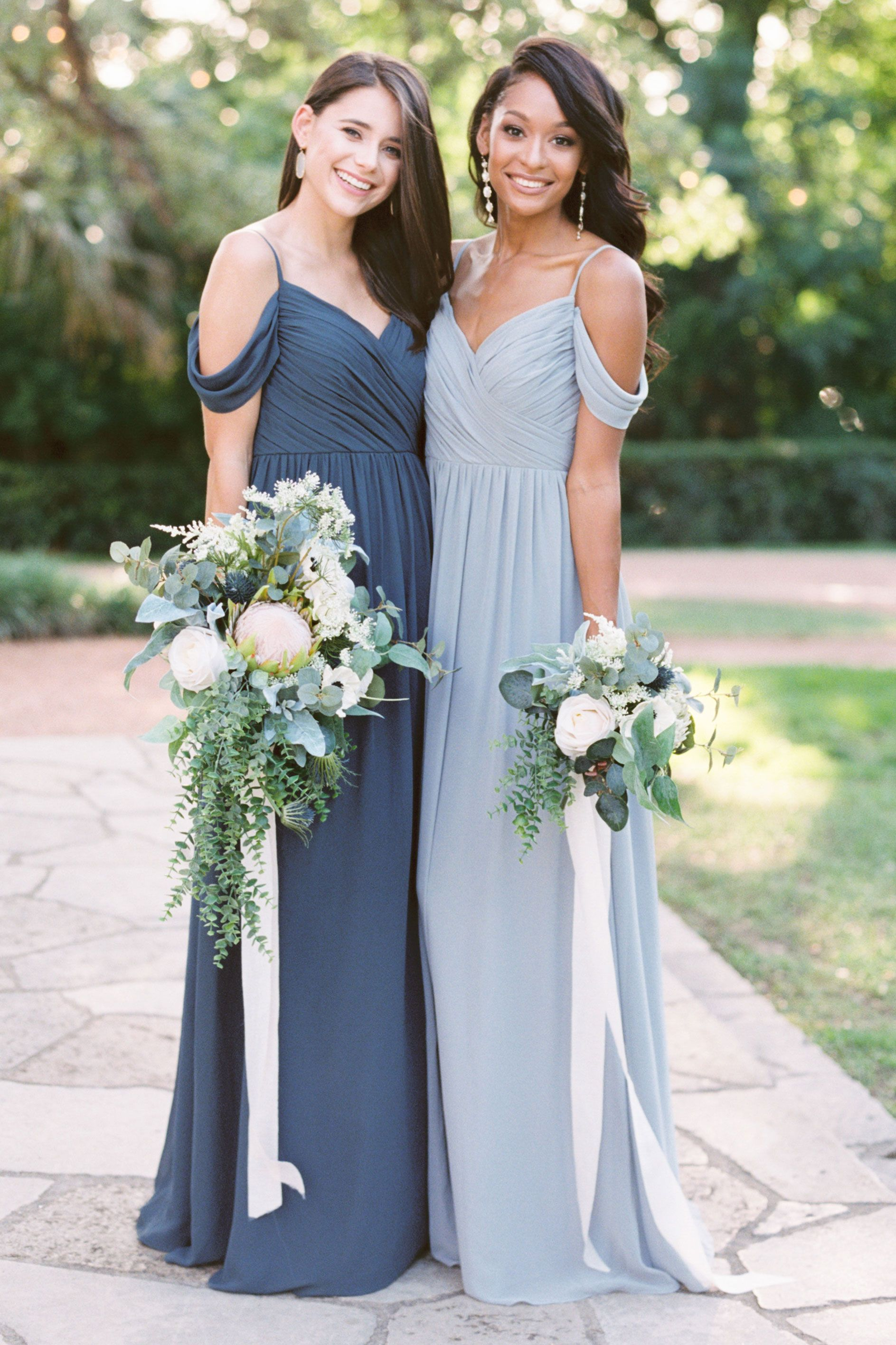 Lily Chiffon Dress Wedding Bridesmaid Dresses Blue Bridesmaid
