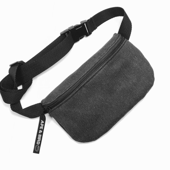3a50d9a34fc9 Black Fanny Pack, Black Belly bag, Bum bag, Belly Bag, Vegan Fanny ...