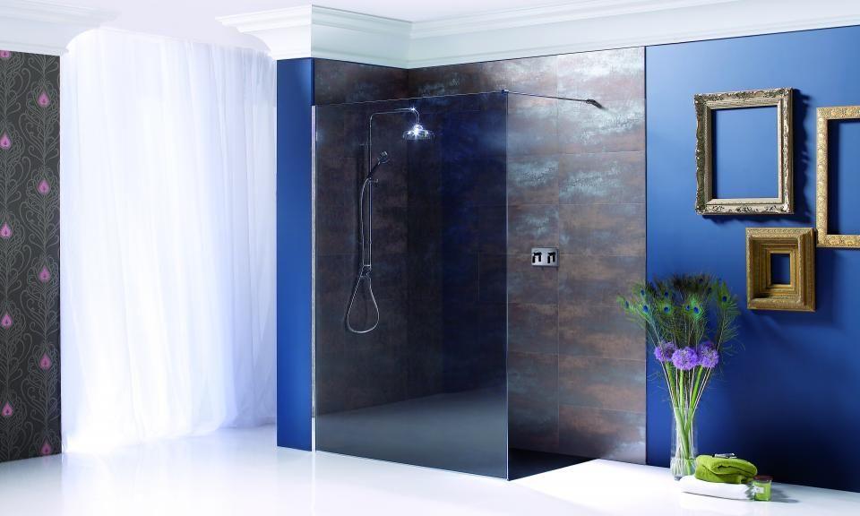 Matki black Wet Room Panel with black slimline shower tray ...