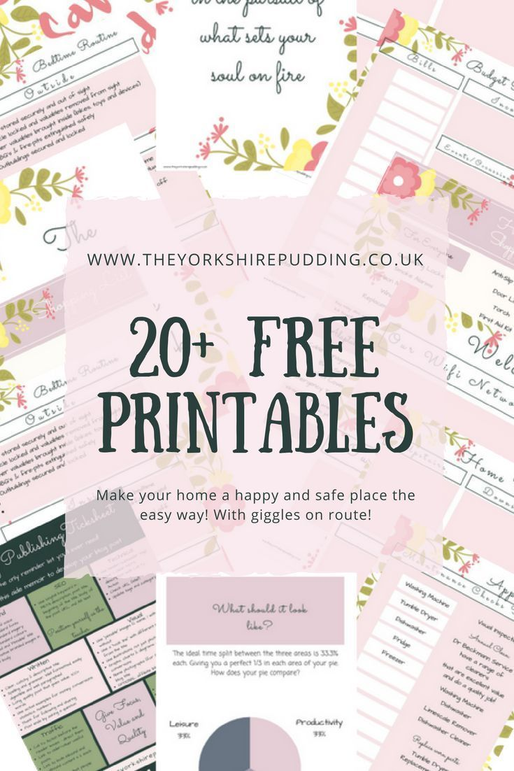 Over 20 free printables for all of home management need