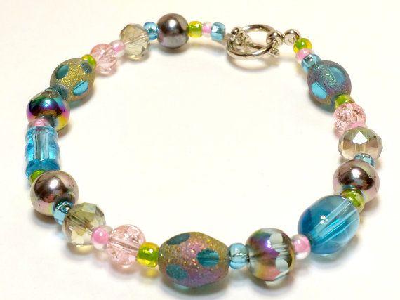 8 inch Spring Morning Bracelet. It has Blue by B4Jjewelrydesigns