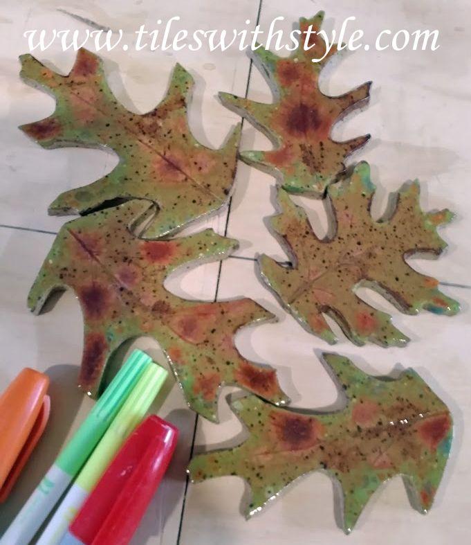 71 ceramic tile leaves leaf shaped