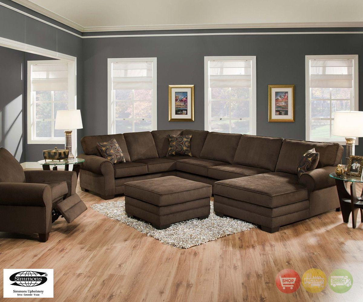 simmons living room furniture. Plush Brown Upholstered U-shaped Sofa Sectional Living Room Furniture Set Simmons