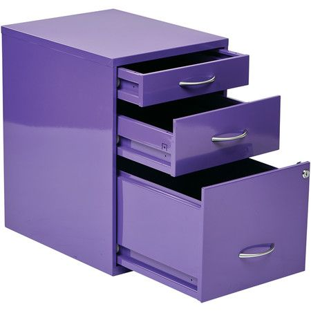 Stow Office And Household Papers In This Delightful File Cabinet Showcasing 3 Drawers And A Charming Purple Finish Purple Office Purple Furniture Purple Home