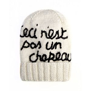 """Eugenia Kim Magritte """"This Is Not A Hat"""" Graphic Knit Hat - Cream/Black"""