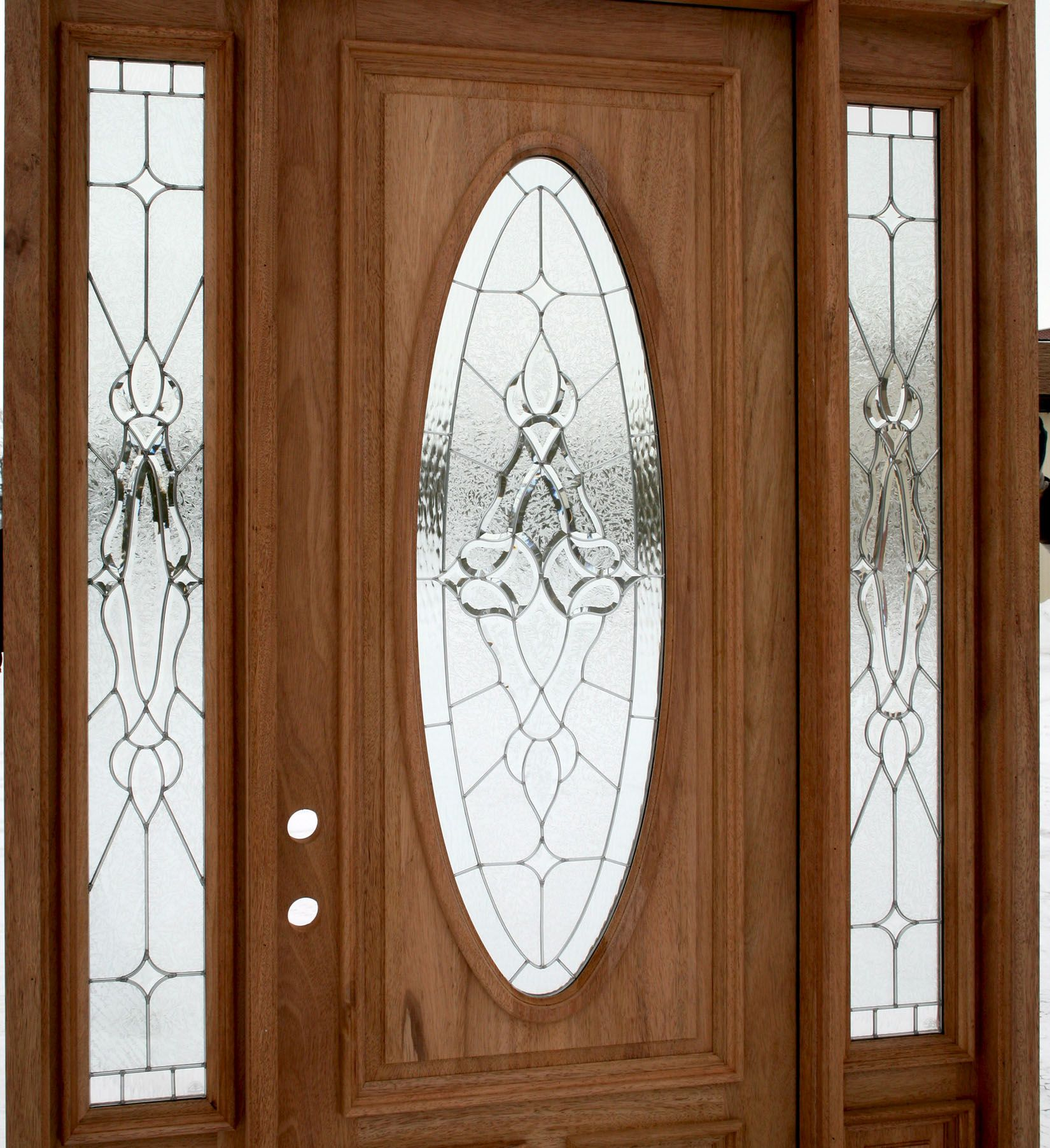 Front door with glass exterior door with sidelights for Wooden window design with glass