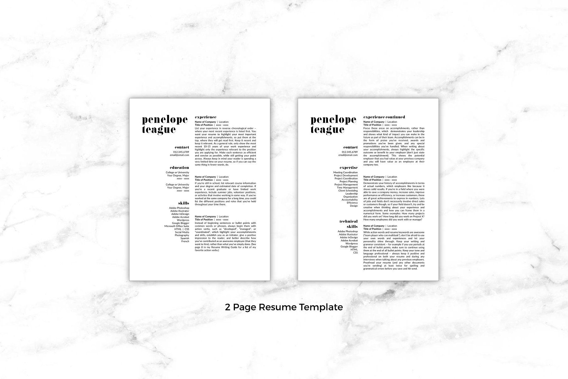 Creative Resume Template Penelope Quality Detailed