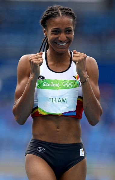 Nafissatou Thiam Of Belgium Reacts During The Women S Heptathlon High Jump On Female Athletes Heptathlon Track And Field