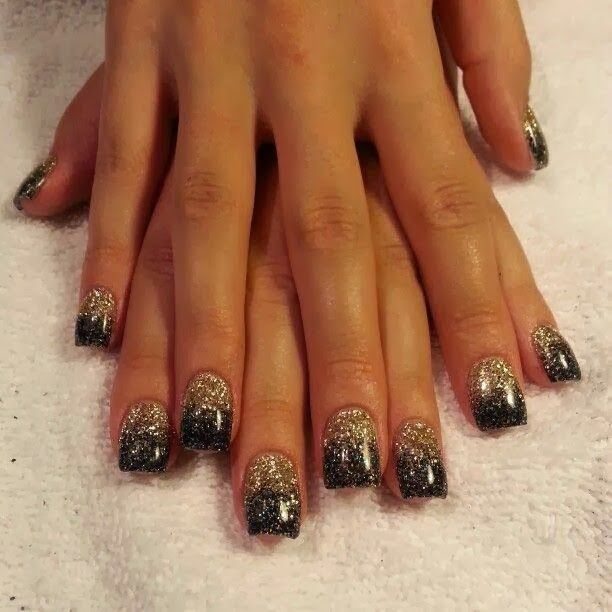 gold black white gel nails | black acrylics and silver gold hazing ...