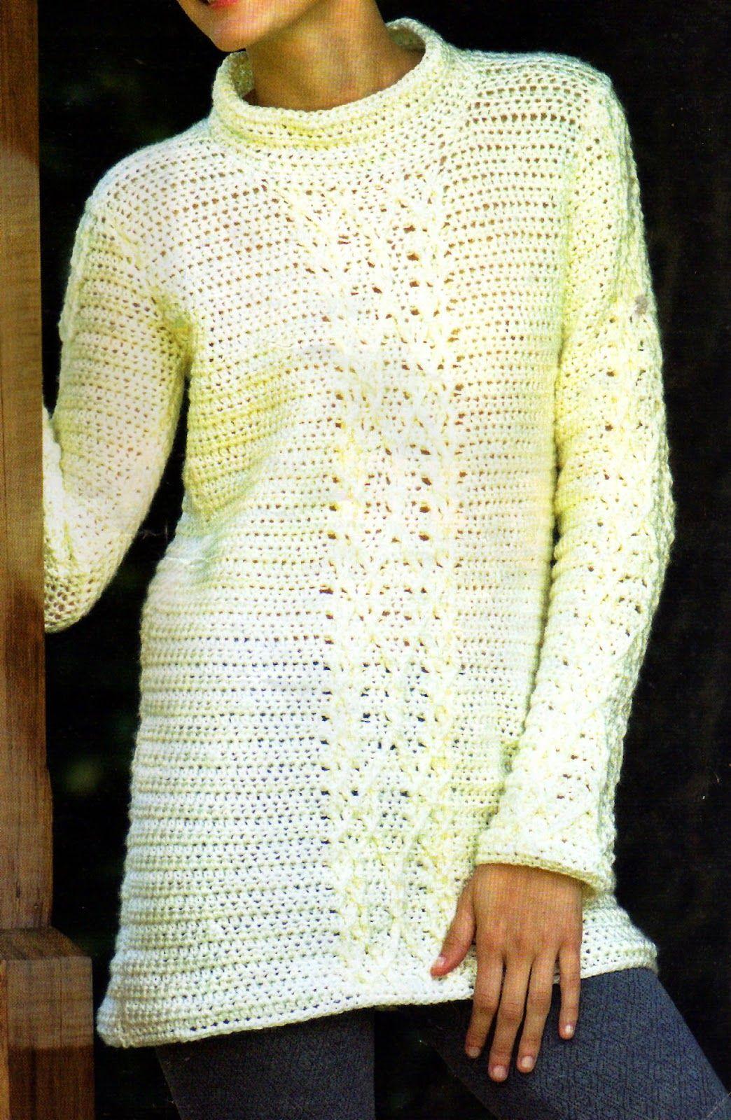 tejidos artesanales en crochet: sueter pull basico tejido en crochet ...