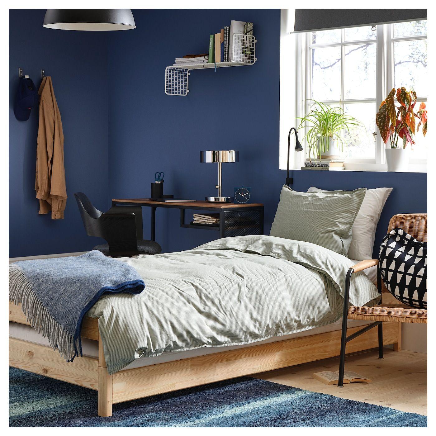 UTÅKER Stackable bed with 2 mattresses, pine, Husvika