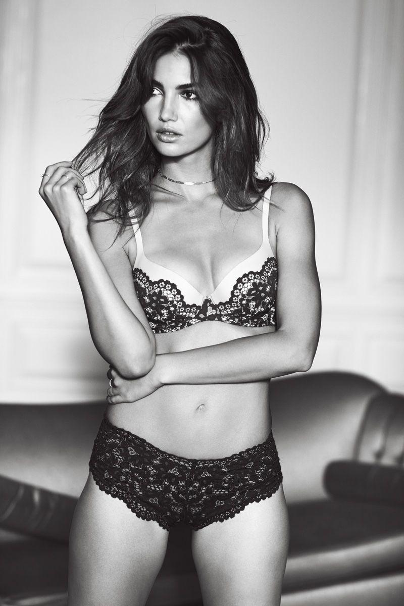996102d1701d8 Lily Aldridge wears Victoria s Secret Body by Victoria Demi Bra and Lace  Panty
