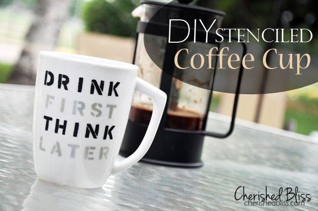 Stenciled Coffee Cup Quote Tutorial Cherishedbliss Plaid Martha Marthagl Mug