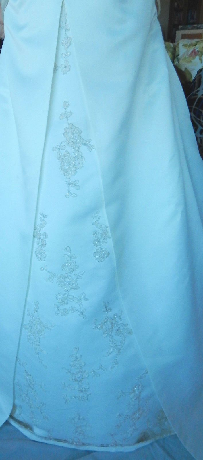 Beaded satin aline halter bow chapel train wedding dress w