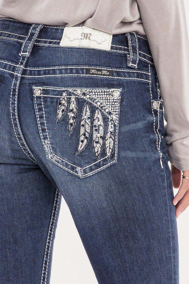 5e368c5db4b Miss Me Ladies  Feather Bling Mid Rise Slim Bootcut Jeans M8986SB ...