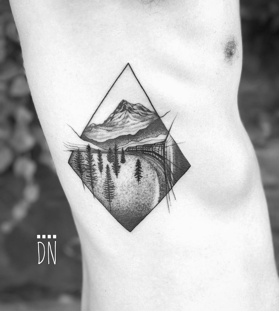 6cdad4ee0 This style for mountains as part of LOTR sleeve tattoo || Insta @dinonemec  Alaska