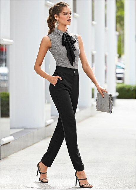front view neck detail jumpsuit work style in 2019 outfit ideen arbeitskleidung und schicke. Black Bedroom Furniture Sets. Home Design Ideas