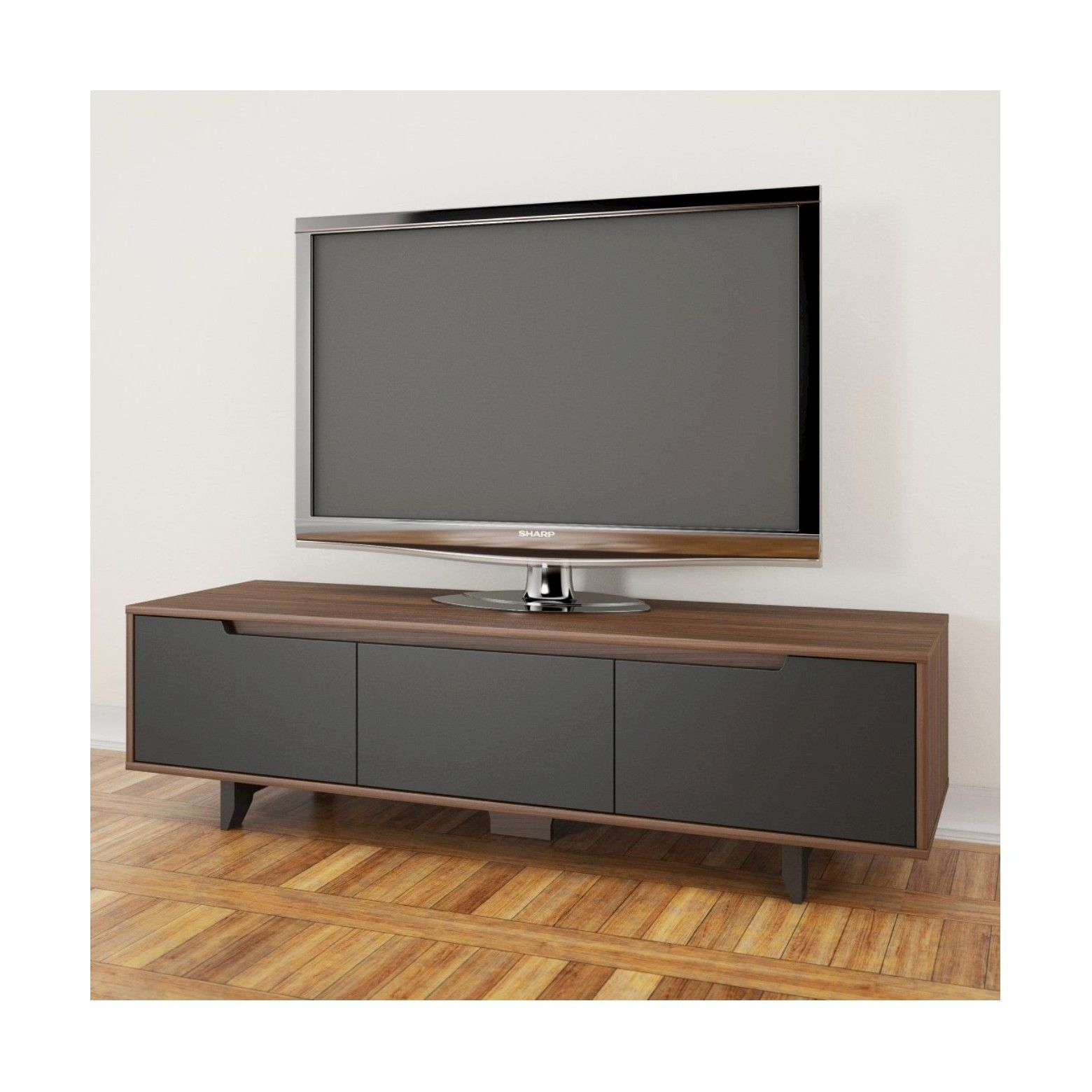 Malibu TV Stand 60 Walnut Brown & Charcoal Nexera