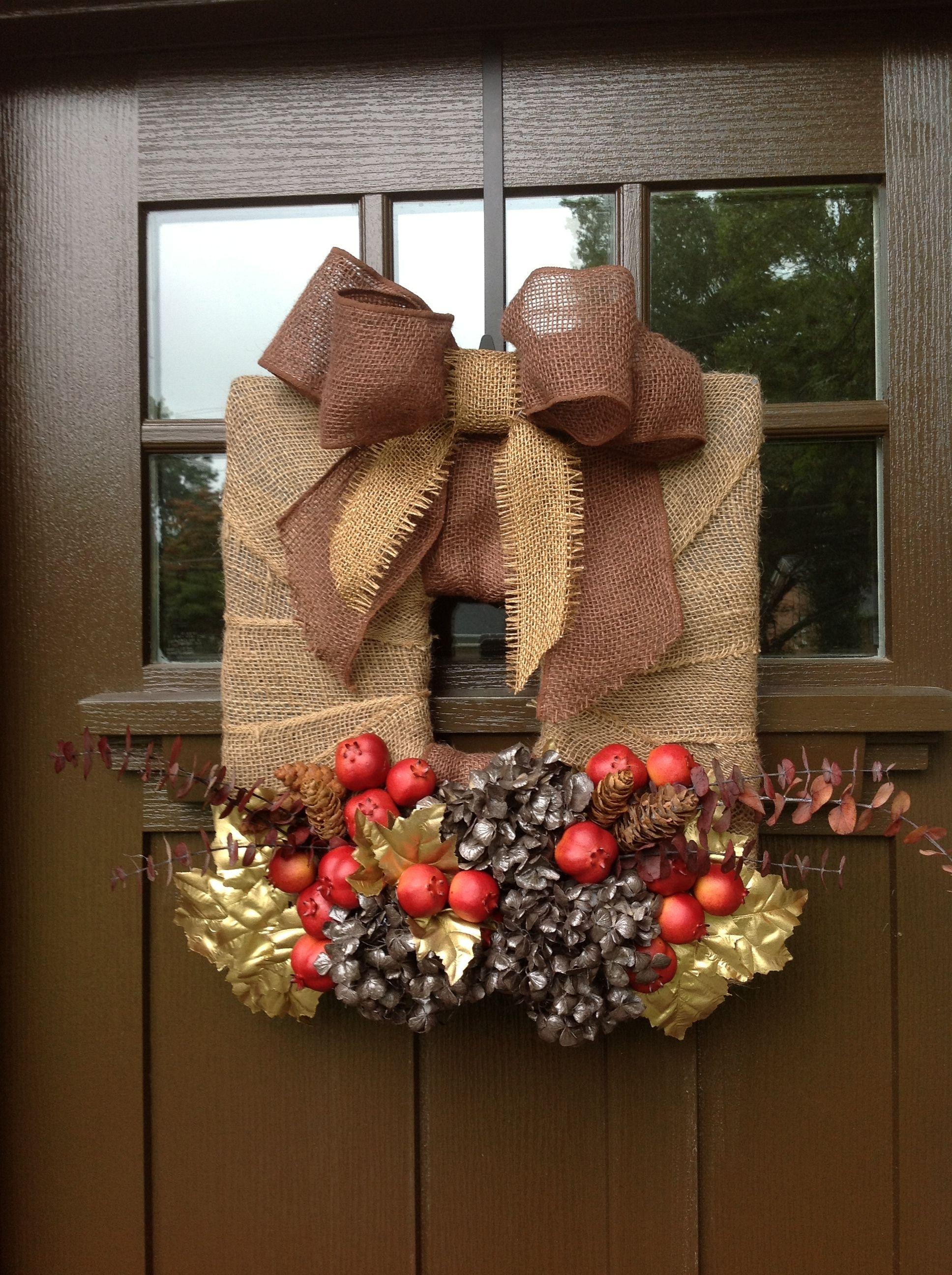 Fall burlap, square wreath Square wreath, Wreaths, How