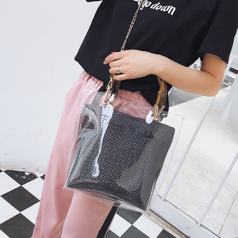 fff6e957777 Black Inner Pouch Bamboo Handle Clear Bag with Chain Skip to content Search  Home Following The Happy Rosa   Co. 💮 The Happy Rosa BAGS. Organize BAGS.