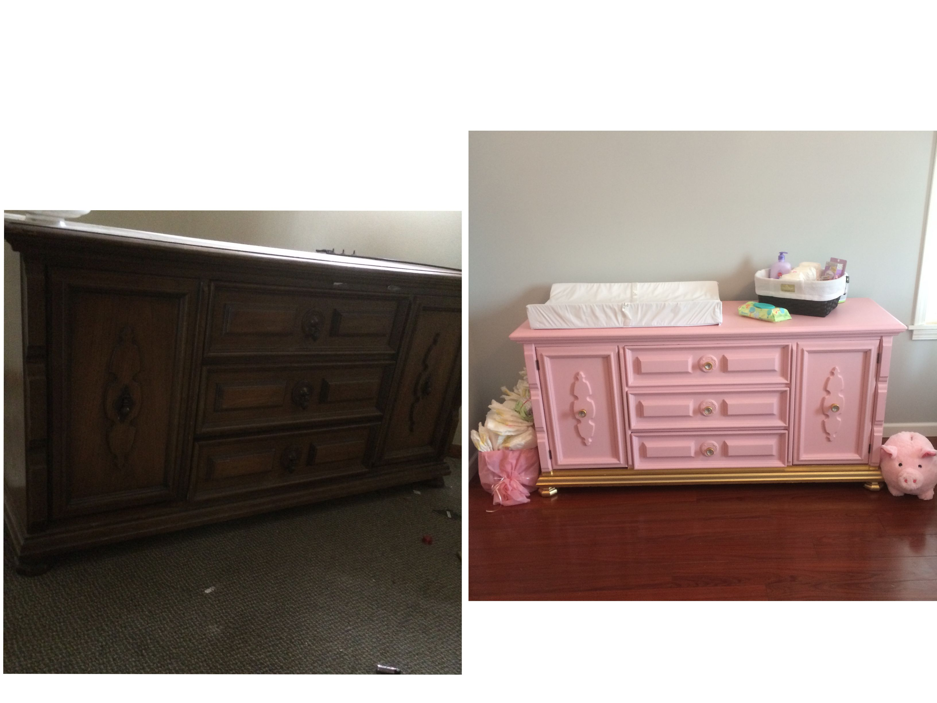 Jerra's changing table from a old buffet