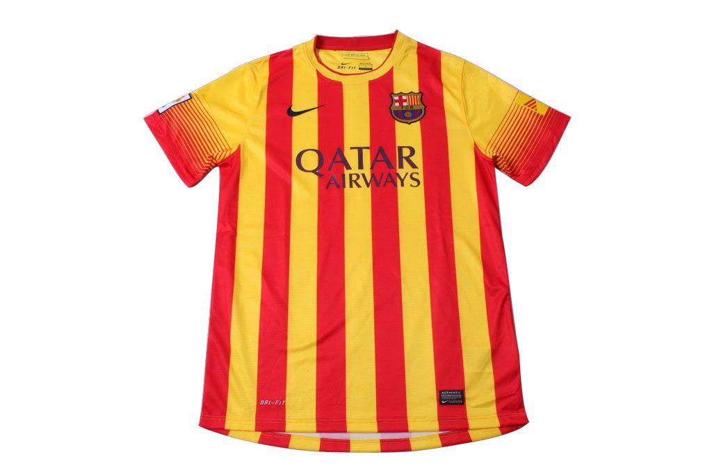 factory price ced1d 29fd3 13-14 Barcelona away orange/yellow soccer jersey/ football ...