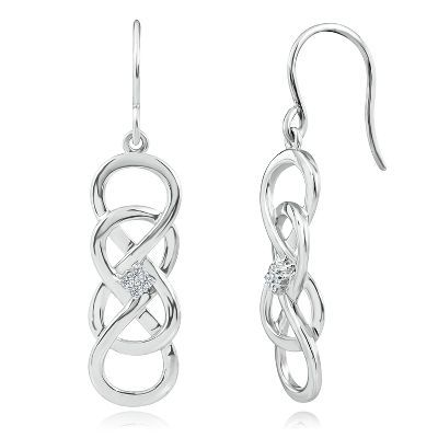 Infinity X Infinity™ Dangle Earrings with Diamond Accents in Sterling Silver available at #HelzbergDiamonds