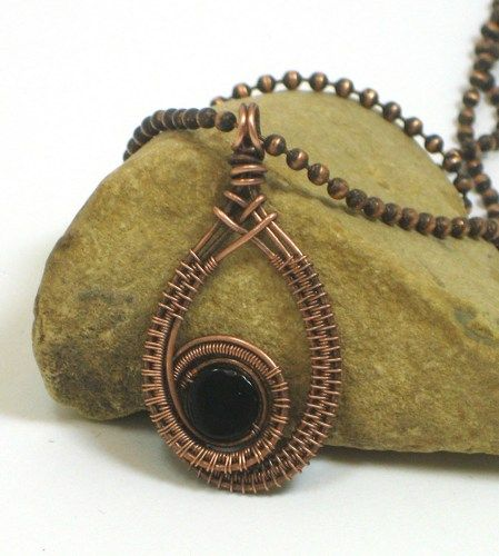 Black Onyx Coin Bead With Woven Copper Wire Frame Pendant | BDJDesigns - Jewelry on ArtFire