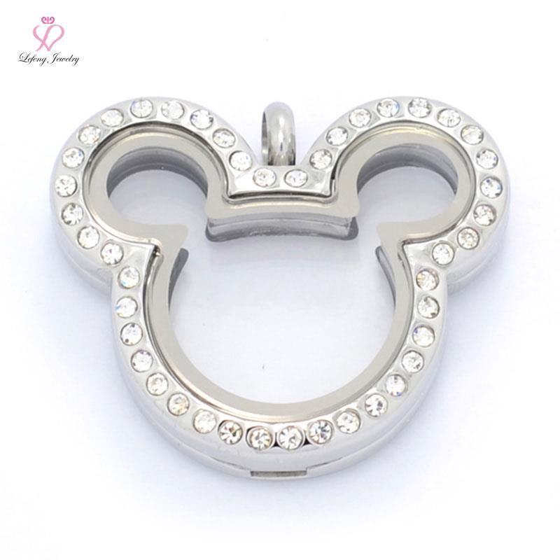 Hot sale silver crystal mickey head 316l stainless steel glass hot sale silver crystal mickey head 316l stainless steel glass floating locket pendantswholesale silver living lockets 4 style aloadofball Choice Image