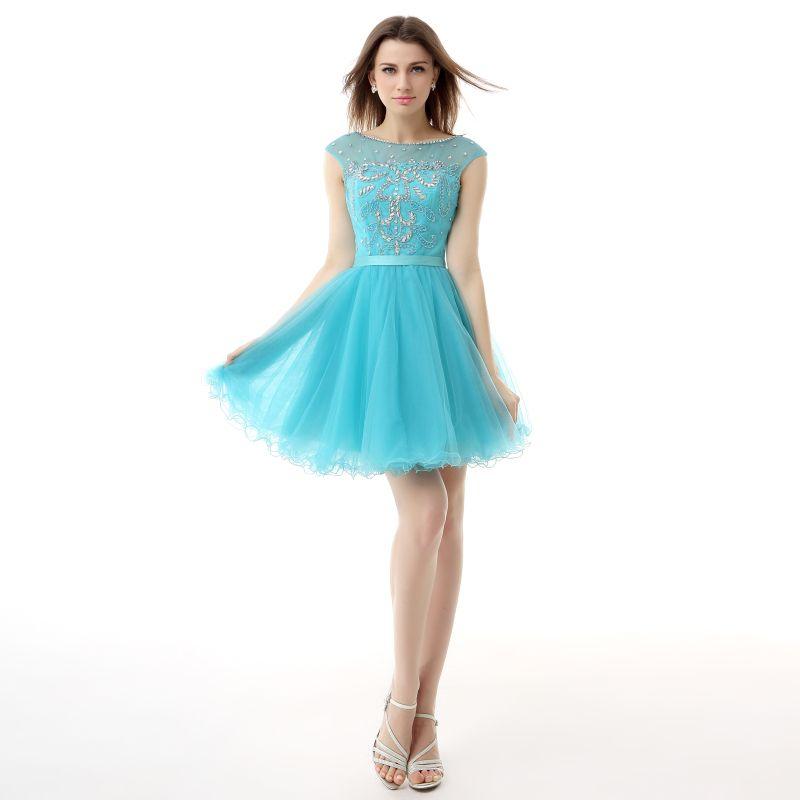 2016 Real Model Light Blue Tulle Homecoming Dresses Vestido De Festa ...
