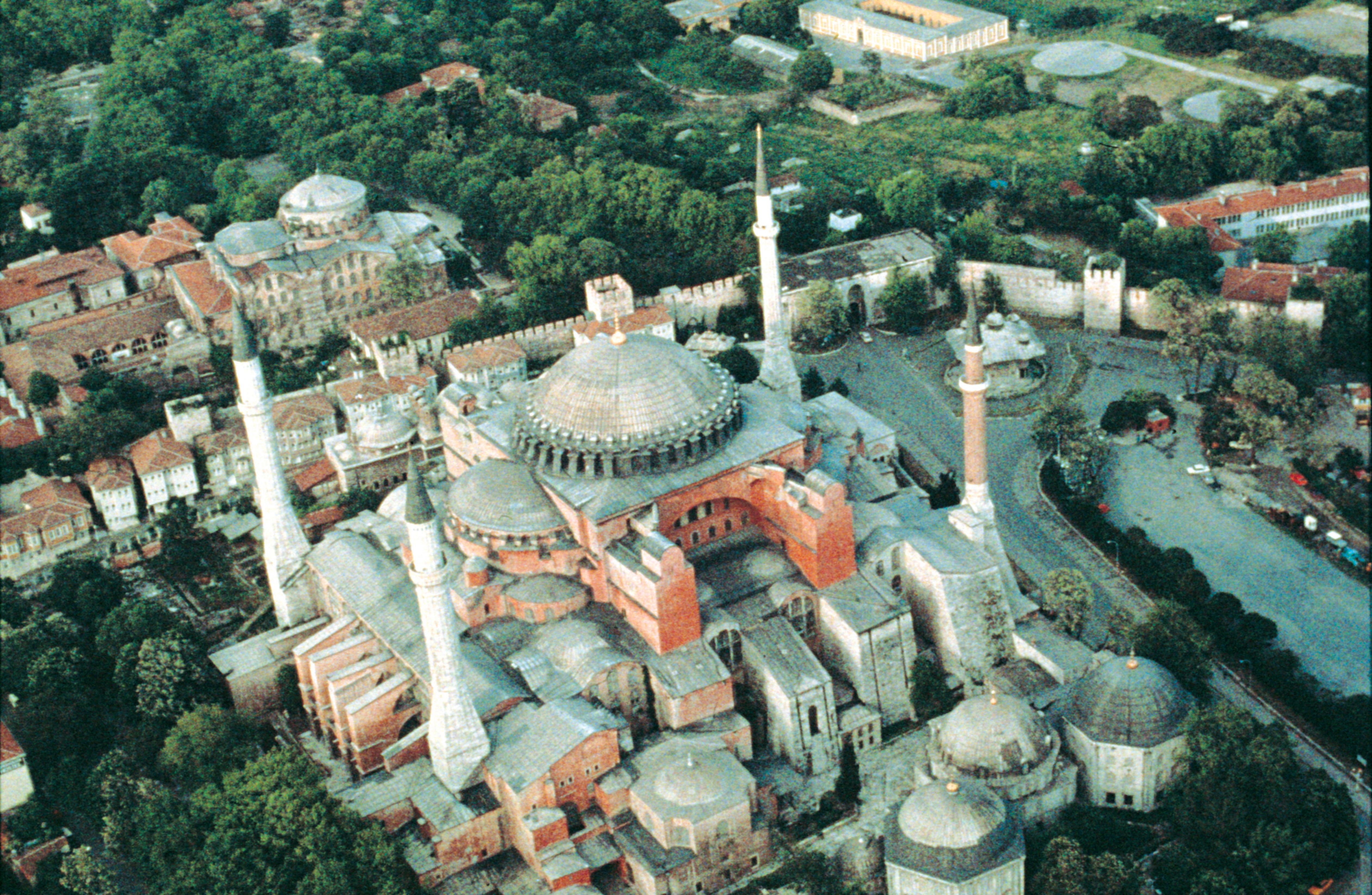 Overhead View With Cascading Domes And Half Domes Minarets Added Later Hagia Sophia Istanbul Small World