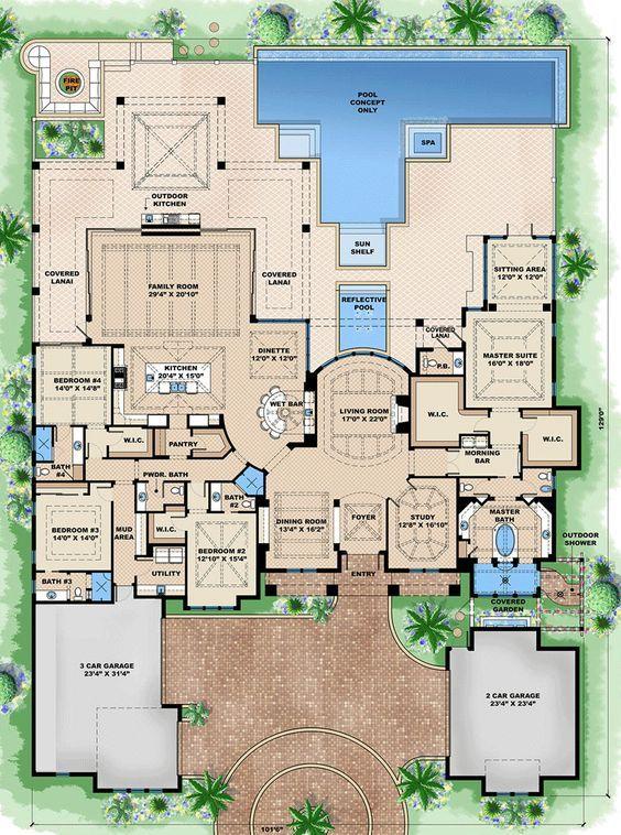 House Plan 1018 00203 Luxury Plan 5 377 Square Feet 4 Bedrooms 5 Bathrooms Pool House Plans Luxury Floor Plans Luxury Plan