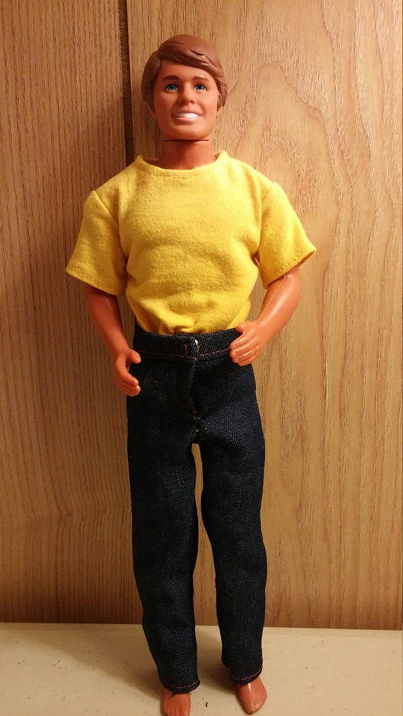 Yellow t-shirt and blue jeans for Ken   Etsy   Yellow t