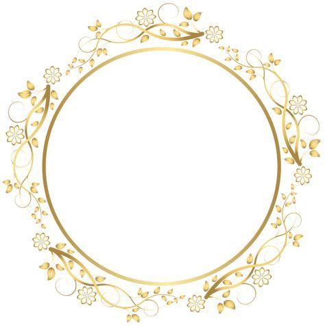 Gold Round Floral Border Transparent Png Clip Art Image Floral Border Flower Frame Ornament Frame