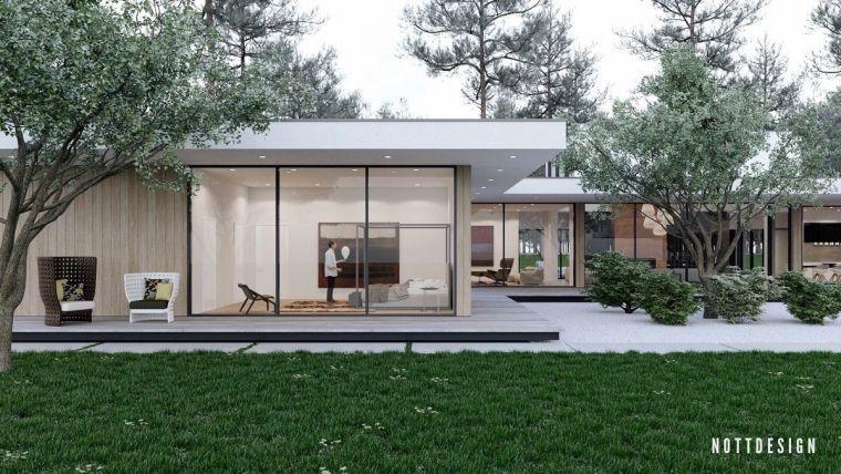 Maison toit plat moderne qui défie la gravité par NOTT Construction