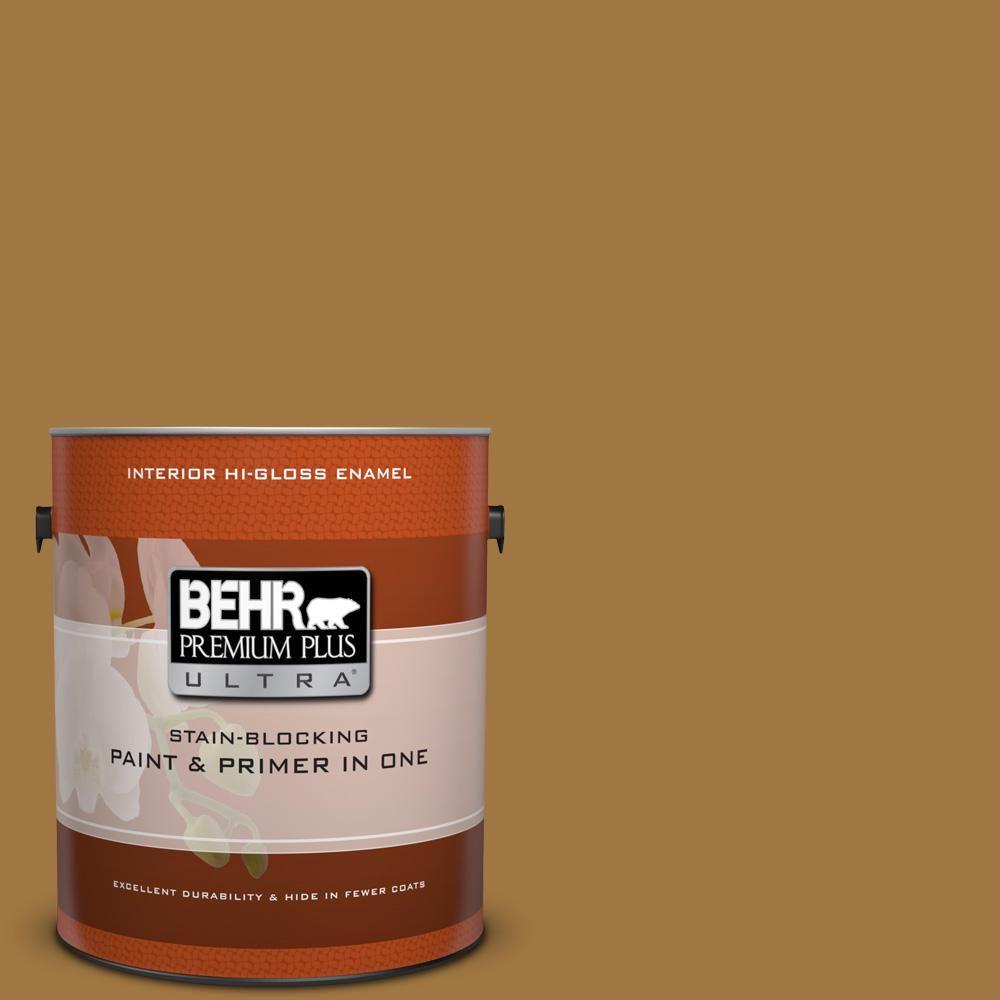 BEHR Premium Plus Ultra 1 gal. #310F-6 Goldenrod Tea Hi-Gloss Enamel Interior Paint