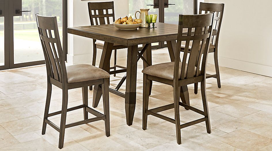 Woodcote Gray 5 Pc Square Counter Height Dining Room   Dining Room Sets  Colors