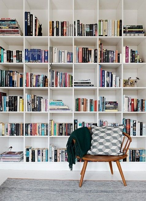 Whole Wall Of Book Shelves Plus Comfy Reading Chair In The Corner For A Change Of Options Scenery Wall Bookshelves Bookshelves Diy