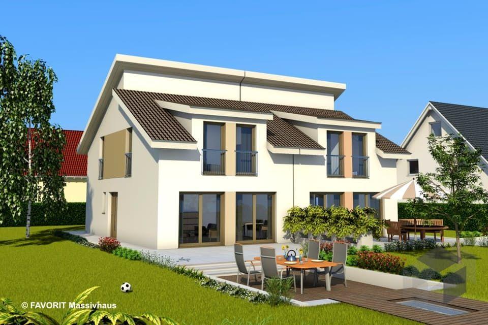 mit Satteldach Haus, Doppelhaus bauen, Massivhaus