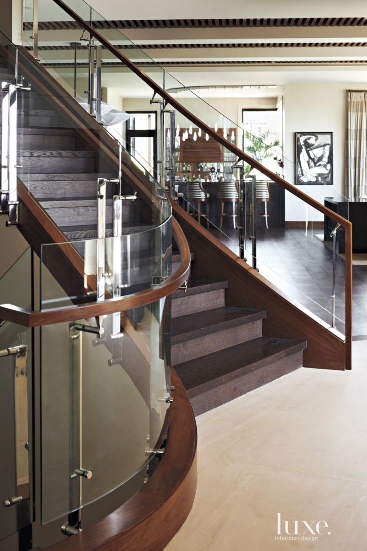 Best Modern Walnut And Glass Sculptural Staircase Modern 400 x 300