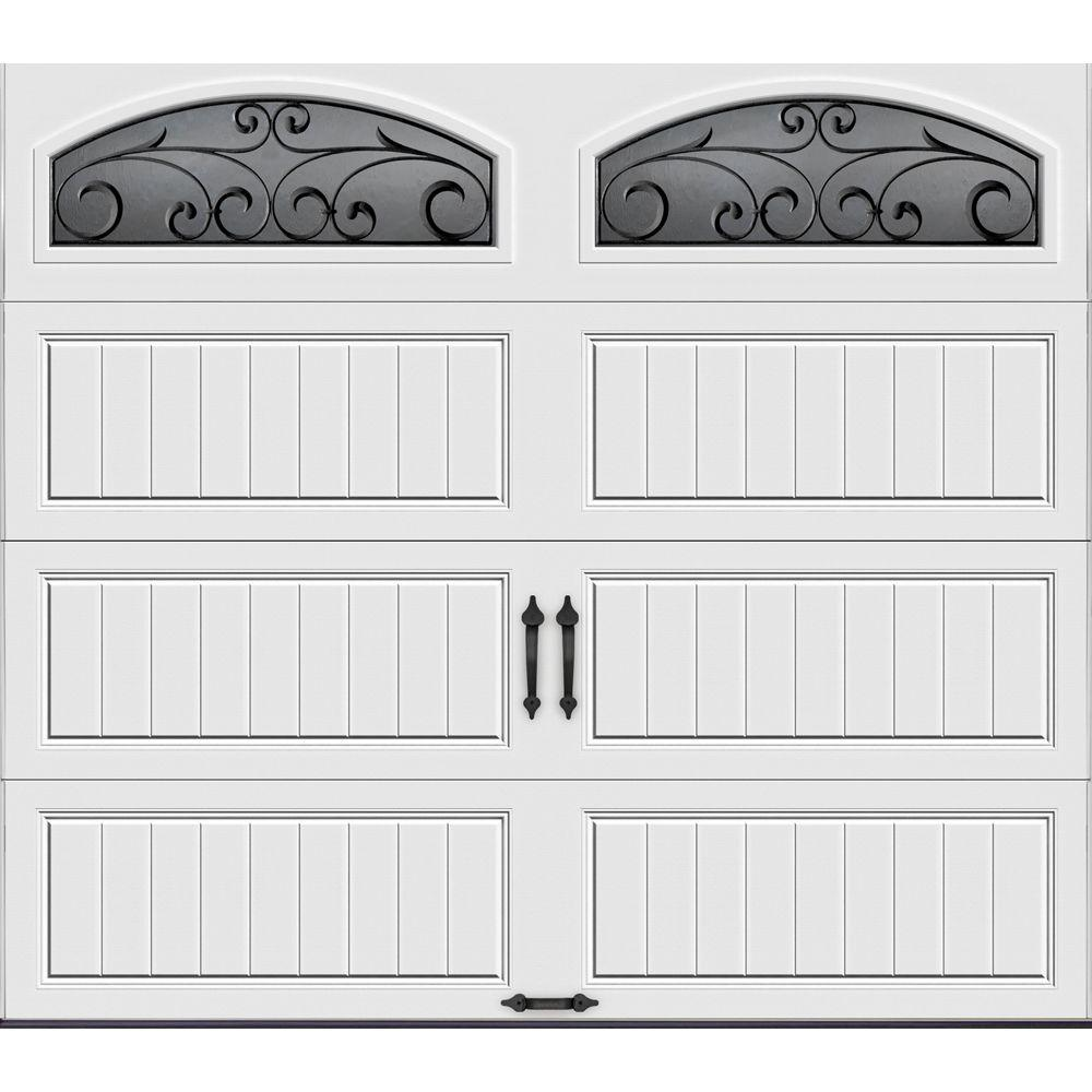 Clopay Gallery Collection 8 Ft X 7 Ft 6 5 R Value Insulated White Garage Door With Wrought Iron Window Gr1lp Sw Wia2 The Home Depot In 2020 Garage Doors White Garage Doors Garage Door Design