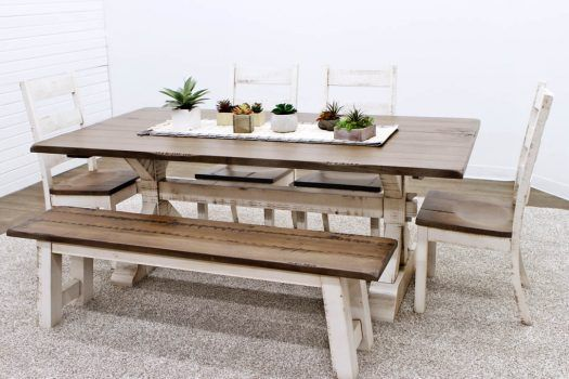Amazing Farm House Trestle Table With 1 Bench And 4 Western High Alphanode Cool Chair Designs And Ideas Alphanodeonline