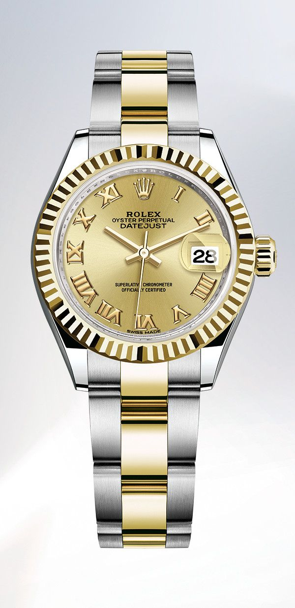 9bd2ad16bc1 The Rolex Lady-Datejust 28 Rolesor, combining 18 ct yellow gold and  Oystersteel, with a champagne-colour dial, a fluted bezel and an Oyster  bracelet.