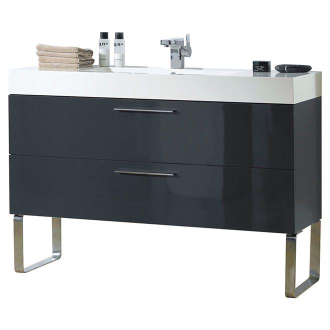 Meuble lavabo « Moderne », 48 po, gris lustré | Décoration | Pinterest