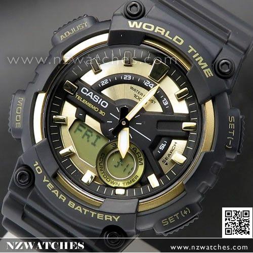 Casio Analog Digital Telememo World time Sport Watch AEQ-110BW-9A ... e15093e53