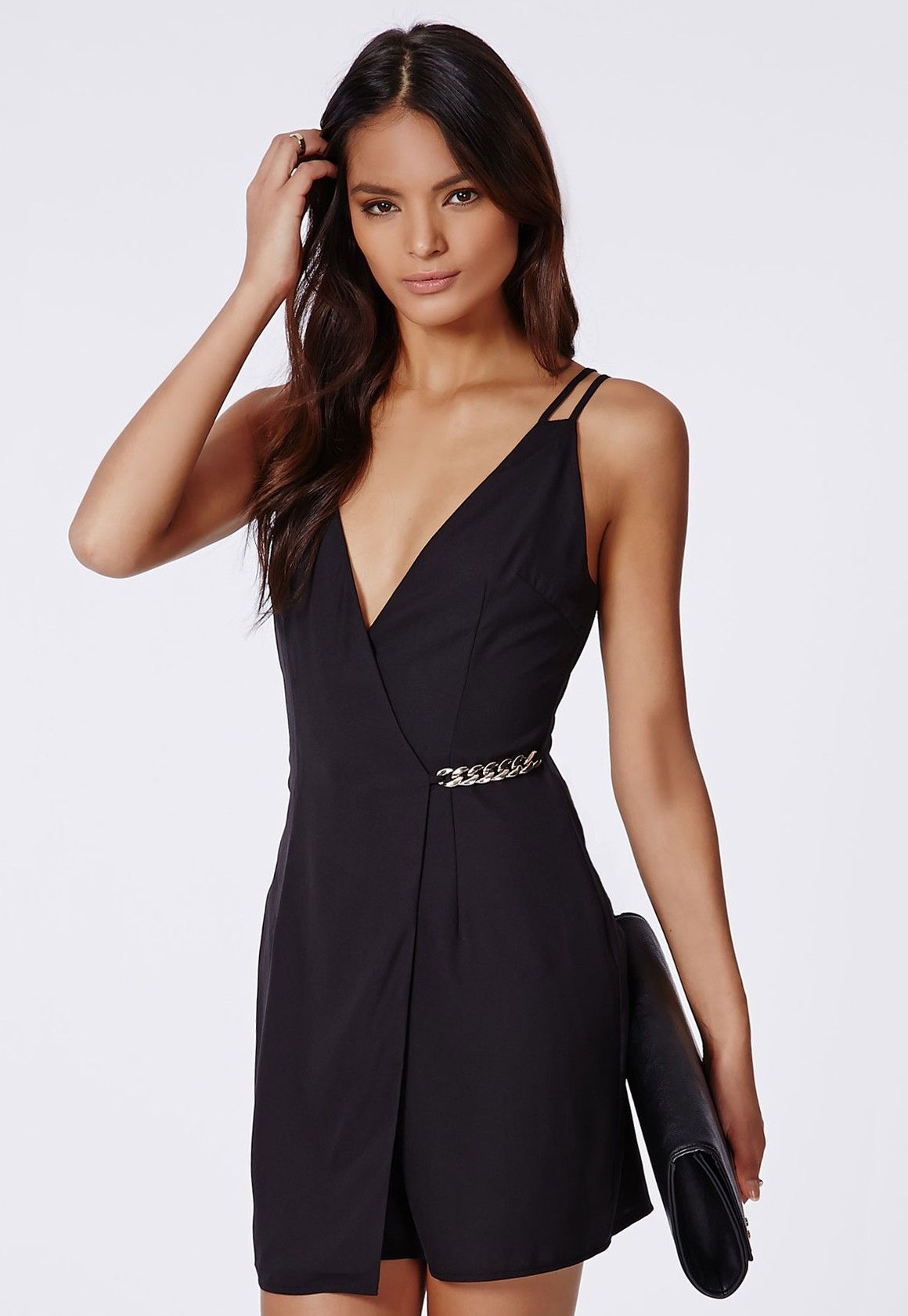 fe5e659d02 Judy Crepe Side Gold Chain Shift Dress Black - Dresses - Shift Dresses -  Missguided