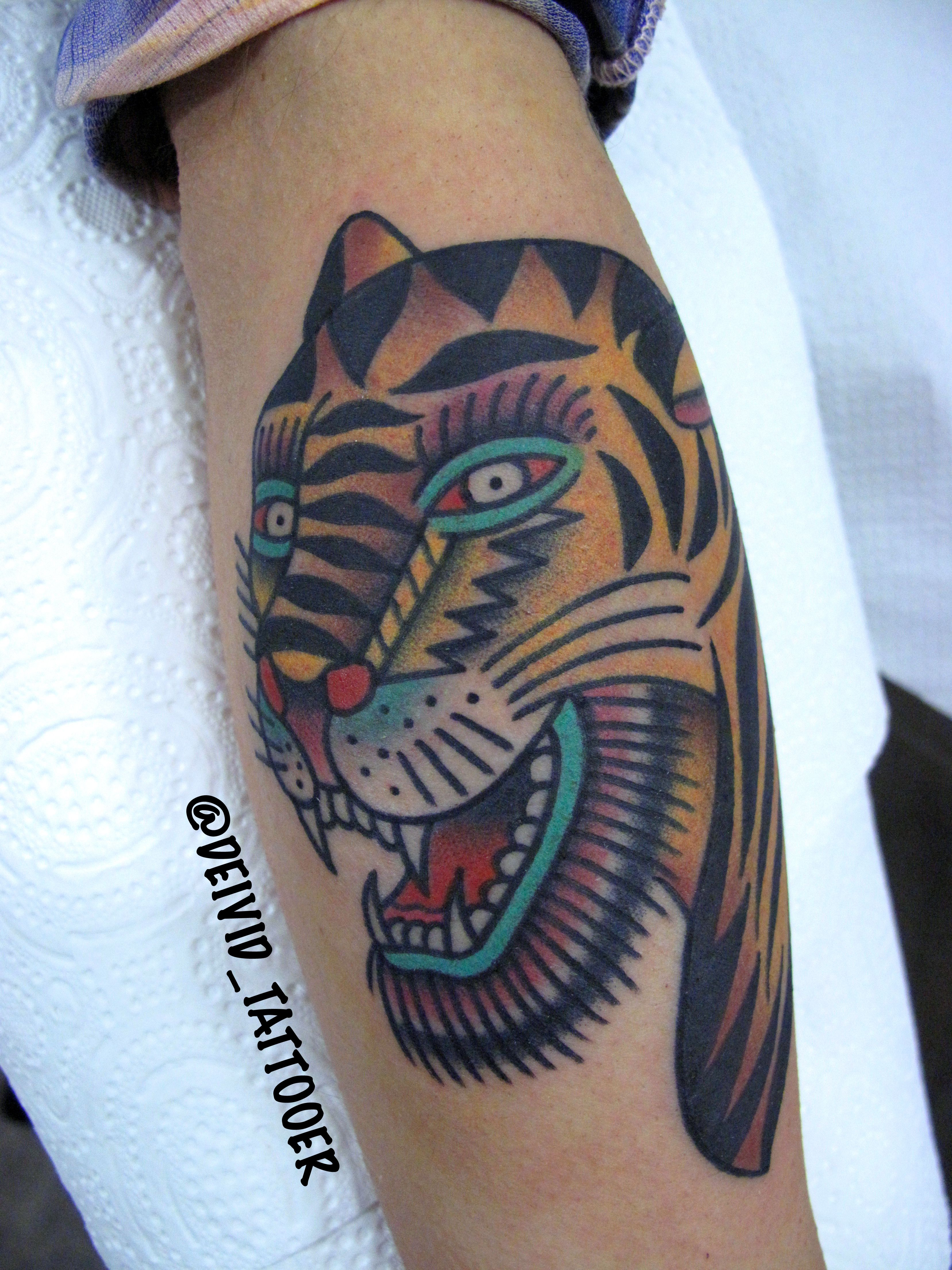 Done by deividtattooer tiger bertgrimm traditionaltattoos