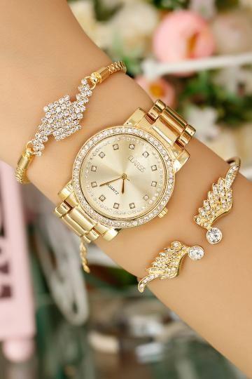 Clariss Marka Gold Kasa Bayan Saat Ve Bileklik Kombini Bayan Saatleri Bileklik Kadin Saati