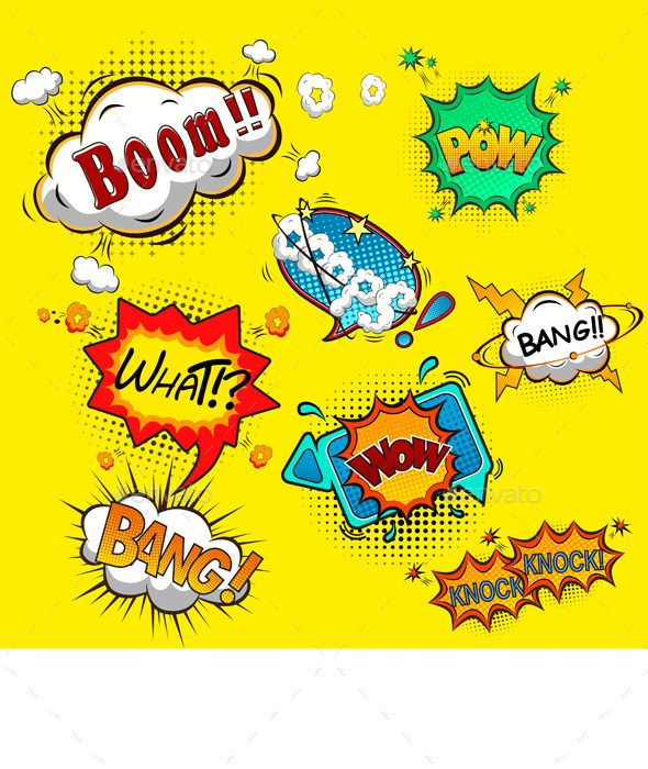 Get Superheroes Pop Art Text Props Super Hero Comic Speech Bubble Clipart Party Bunting Cutting Files Digital Svg Eps Png Jpg Vinyl Sale -387S Crafter Files