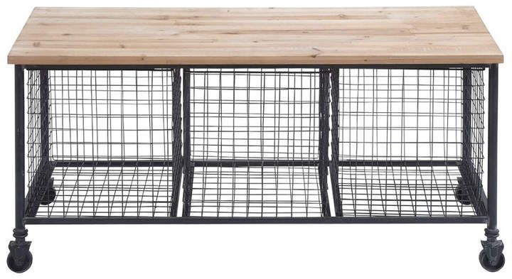 Peachy Uma Enterprises Metal And Wood Bench With 3 Baskets Ibusinesslaw Wood Chair Design Ideas Ibusinesslaworg